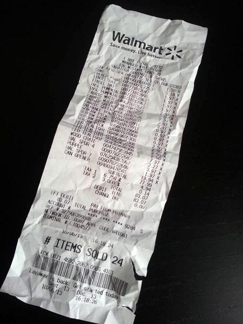 Crumpled Walmart Receipt