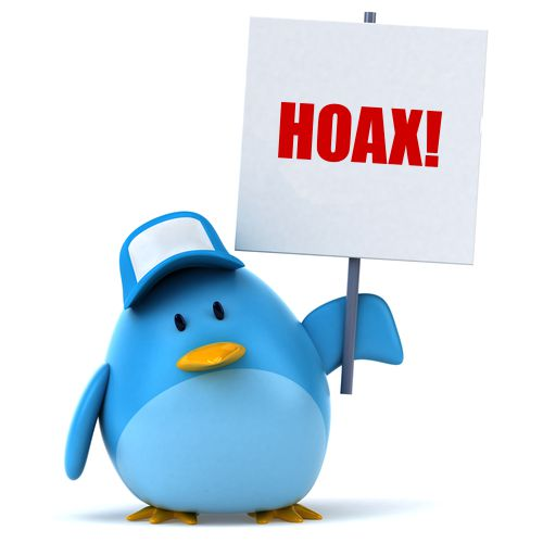 Blue bird Holds Hoax Sign