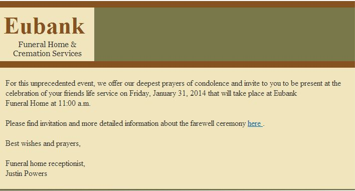 Beware of Malicious Passing of Your Friend Funeral Notice Email