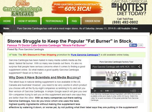 Pure Garcinia Cambogia Extract Website Screenshot