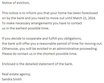 Fake Email Eviction Notice