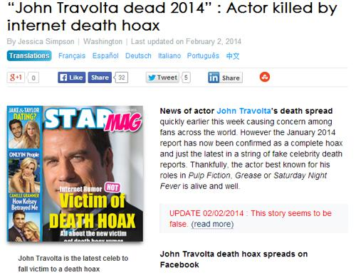 Celebrity Hoax Death Reports - The New York Times