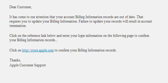 Fake Apple Update Your Billing Email Scam
