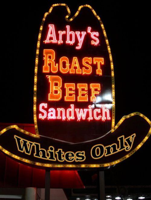"""Satricla """"Whites Only"""" Arby Sign"""