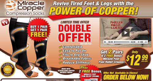 Screenshot of Miracle Copper Compression Socks website