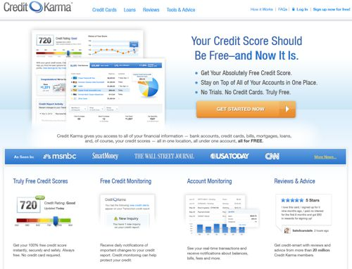 service credit karma review online score report monitoring