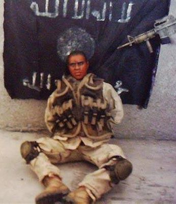 "This photo of a ""captured soldier"" was released by Iraqi militants."