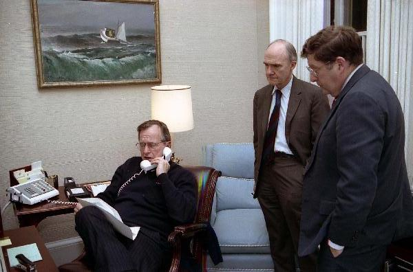 george h. w. bush on the phone