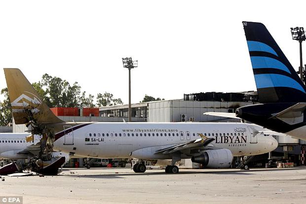 damaged libyan airlines plane
