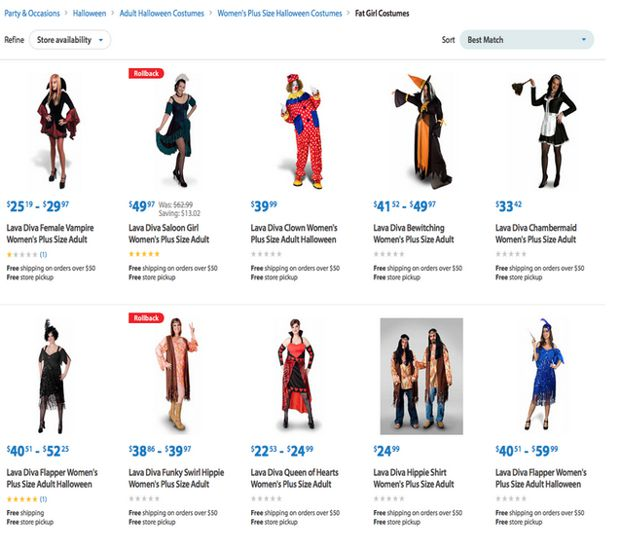 fat girl costumes walmart