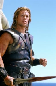 "Unaltered production photo of Brad Pitt in ""Troy""."