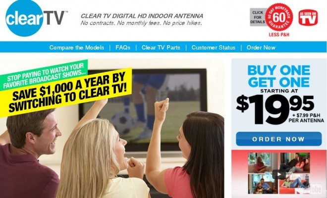 As Seen on TV Clear TV HD Digital Antenna No More Cable Bills New Black ED