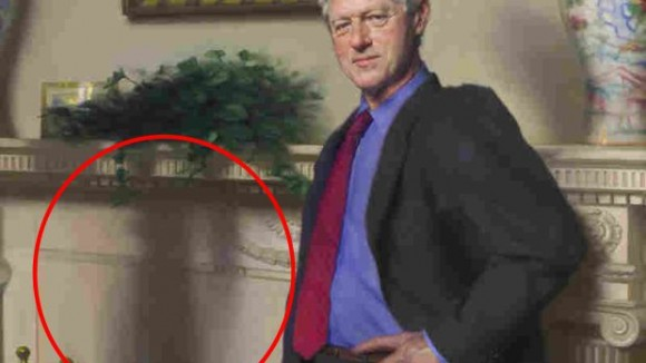 The shadow of Monica Lewinsky's blue dress was hidden in this portrait of Bill Clinton.
