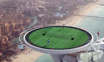dubai tennis court on skyscraper