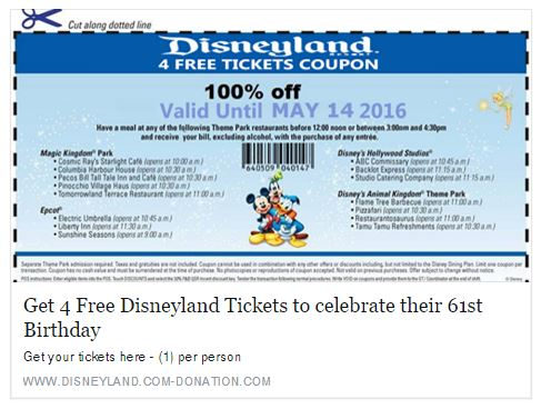 Disneyland discount coupons