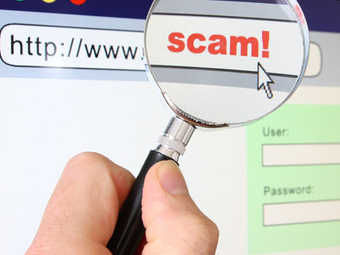 Magnifying glass scam graphic