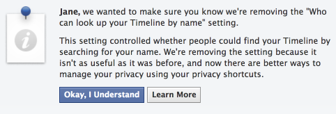 Facebook Removes Privacy Settings