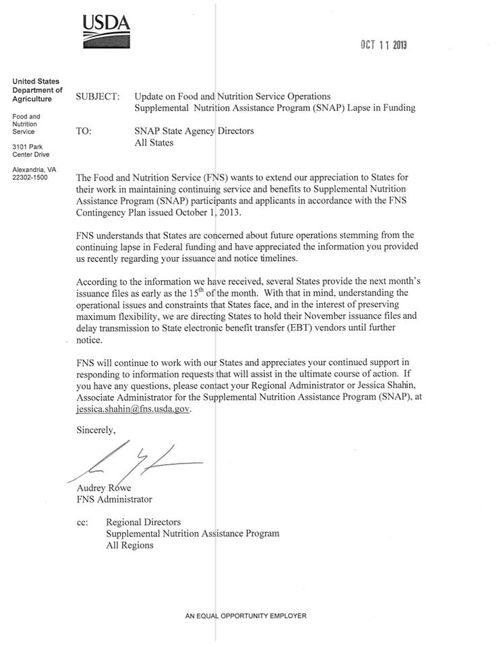 Does This USDA Letter State That SNAP Benefits Will End November 1st