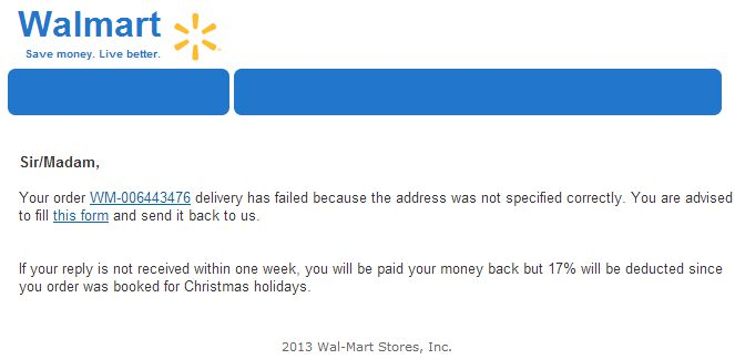 Fake Walmart Delivery Failed Email