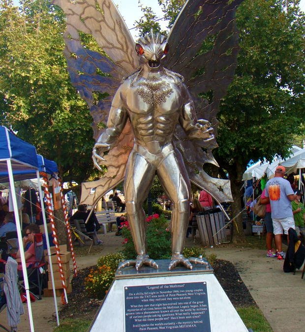 The Mothman statue is a centerpiece of the Mothman Festival.